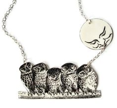 Owl and the Moon Necklace Woodland Surreal by TheSpangledMaker, $27.00
