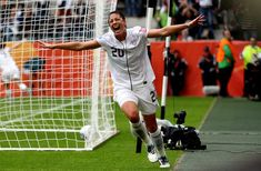 Abby Wambach celebrates after she makes a header goal... taking a 1-0 lead during the FIFA Women's World Cup 2011 Semi Final match between France and USA... :)