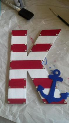 I made these letters for my littles this summer. Wooden letters, paint, rhinestones, and some glue. Diy Letters, Letter A Crafts, Wooden Letters, Anchor Crafts, Painted Letters, Cute Crafts, Diy And Crafts, Arts And Crafts, Nautical Nursery