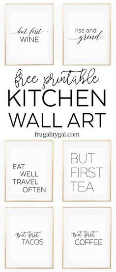 Kitchen Gallery Wall Printables | Free Printable Wall Art | Apartment Kitchen Decor Ideas | Free Printable Kitchen Art | Free Kitchen Printables Black and White