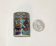 RARE OLD 19TH CENTURY CLOISONNE TURQUOISE ENAMEL DETAILED OPIUM CANISTER JAR BOX