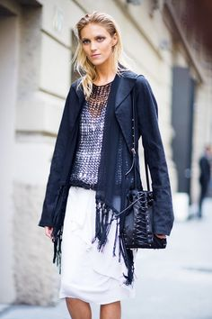 Layers of navy fringe and flowy white skirt
