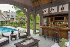 Complementing a new English Tudor, this pool house designed by Douglas VanderHorn Architects fits seamlessly into a historic Olmsted-designed neighborhood of similar style homes in Greenwich, Connecticut. Pool House Interiors, Casas Country, English Tudor Homes, Pool House Designs, Tudor Style Homes, Moraira, Tudor House, Tudor Cottage, Pool Houses