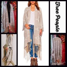 "FREE PEOPLE Kimono Cardigan  NEW WITH TAGS   RETAIL PRICE: $298  ***Model photos were found on WWW.revolveclothing.com Free People Kimono Cardigan ***Absolutely gorgeous! A must for every FP collection!  * Relaxed & flowy;Embroidered fabric. Loose knit.  * Long kimono sleeves.  * Gold tassel trim.  * About 39-51"" long.  * Swing silhouette;Tagged one size.  Fabric: linen, cotton, polyester, rayon, & metallic. Color: Ivory & Gold  No Trades ✅ Offers Considered*✅ *Please use the blue 'offer'…"