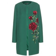 Dolce & Gabbana - Embellished wool coat - This incredible coat first caught our eye as it paraded down the runway in Dolce & Gabbana's Fall'15 show. In a rich shade of emerald green, this piece is crafted in Italy from wool and lined in sublimely soft silk - meaning it layers effortlessly. A magnificent rose adornment, constructed from sequins and crystals places this divine piece at the acme of chic outerwear. seen @ www.mytheresa.com