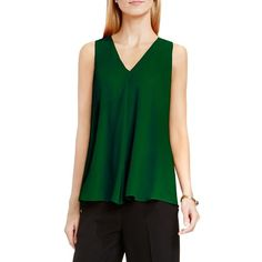 Petite Women's Vince Camuto Drape Front V-Neck Sleeveless Blouse ($69) ❤ liked on Polyvore featuring tops, blouses, forest night, petite, vince camuto tops, petite tops, green top, sleeveless blouse and draped blouse