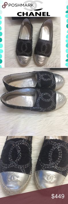 Authentic Chanel Espadrilles Beautiful Black & Gray tweet double soles espadrilles from Chanel 2016 collection. Preowned condition with normal wear. Some scratches on leather caps as shown in picture. Normal wear on leather insoles. No rips or tear. Original box and receipt included. Size 38 and Fit perfect on sizes 7.5. Price is Firm CHANEL Shoes Espadrilles