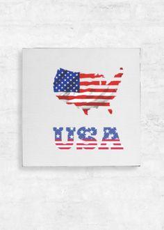 View Canvas Wall Art - - United States of America Vida Design, Canvas Wall Art, Original Art, Symbols, Letters, United States, America, Art On Canvas, Letter
