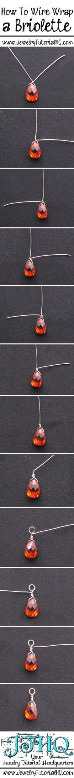 how to wire wrap a briolette                                                                                                                                                      More Wire Wrapped Jewelry, Wire Jewelry, Beaded Jewelry, Jewelery, Handmade Jewelry, Jewelry Storage, Gold Jewelry, Beaded Beads, Beads And Wire