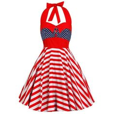 Vintage Backless Halter American Flag Dress ($17) ❤ liked on Polyvore featuring dresses, red dress, red halter dress, red vintage dress, backless halter top and backless halter dress