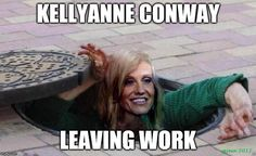 Sewer rat Kellyanne Conway leaving work
