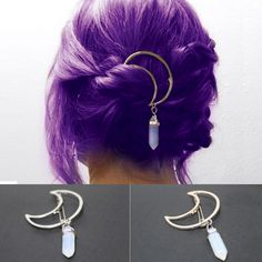 Moon and Crystal Clip Cute Jewelry, Hair Jewelry, Jewellery, Accesorios Casual, Fantasy Jewelry, Cool Hair Color, Purple Hair, Pretty Hairstyles, Dyed Hair
