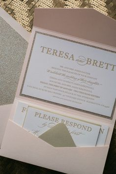 ALYSSA Suite Glitter Pocket Folder Package, blush and gold, pocket folder wedding invitation, letterpress, glitter