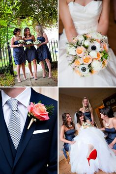 LOVE the bouquet with the navy-centered flowers