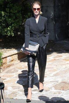 Rosie Huntington-Whiteley wearing Aquazzura Candice Pumps, Chloe Clare Medium Leather Shoulder Bag   Leaving De Modelco Photoshoot. in Sydney August 25 2014
