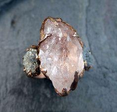 RAW Morganite diamant Rose or bague de fiançailles par byAngeline