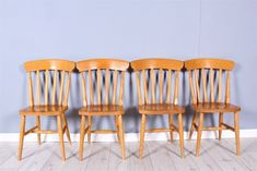 4 SOLID BEECH SLAT BACK FARMHOUSE KITCHEN CHAIRS Kitchen Chairs, Dining Chairs, Welsh Dresser, Pine Furniture, Shabby Chic, Farmhouse, Table, Top, Home Decor