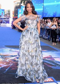 Stunning: Zoe Saldana wore a chiffon monkey print gown from Valentino Resort 2015 for the ...