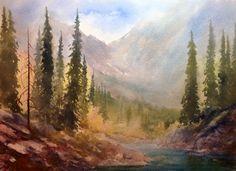 Watercolor Landscape, Rocky Mountains, Art Studios, Scenery, Fine Art, Artist, Nature, Painting, Travel