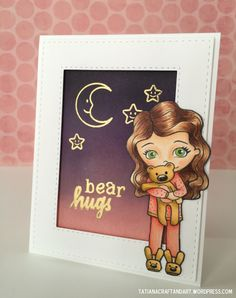 Bear Hugs handmade card. Used #SSSFAVE: SSS Slumber Party and Hand Lettered Encouragement stamp sets, SSS Stitched Rectangles dies.