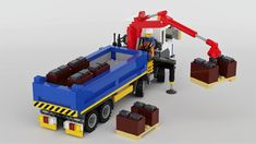 Delivering pallets of slate to a construction site with the mounted crane Lego Crane, Lego Auto, Lego Truck, Lego Creative, Truck Transport, Lego Vehicles, Lego Construction, Bikini Outfits, Lego Design