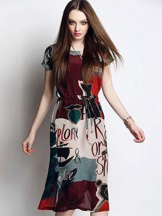 Multicolor Letter Print Contrast Tie Waist Split Dress | abaday
