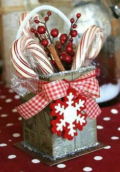 Christmas ~ fun for hostess gift! I think I'd use a pail from Michael's for a more sturdy container - and better handle.