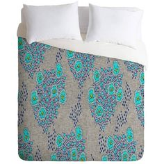 DENY Designs Holli Zollinger Boho Turquoise Floral Duvet Cover King By ($179) ❤ liked on Polyvore featuring home, bed & bath, bedding, duvet covers, outdoor, turquoise blue bedding, boho bedding, deny designs, turquoise bedding and flowered bedding