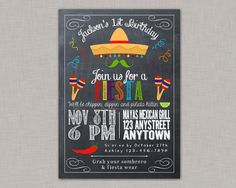 DIY Printable Chalkboard Fiesta, Cinco de Mayo Birthday Party Invitation for girls by thepaperblossomshop on Etsy Second Birthday Ideas, 2nd Birthday Parties, Birthday Party Invitations, Boy Birthday, Birthday Cards, Frozen Birthday, Party Favors, Invitation Fete, Invitation Ideas