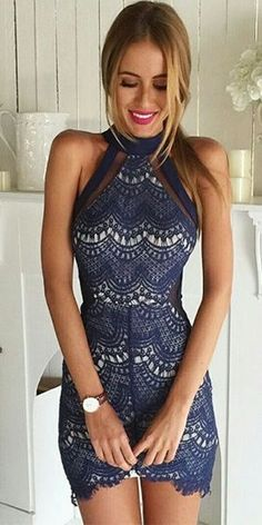 Indie XO Simply Stunning Royal Blue Lace Sleeveless Mock Neck Halter Bodycon Mini Dress - Sold Out - Summer Outfits Pretty Dresses, Sexy Dresses, Beautiful Dresses, Short Dresses, Gorgeous Dress, Tight Dresses, Beautiful Women, High Neck Lace Dress, Dress Skirt