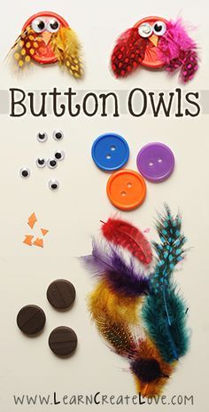 Button Owl Craft**might be able to make with milk jug lids for a less expensive classroom craft.