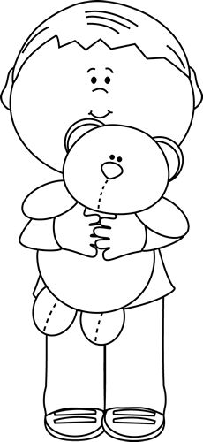 Black and White Boy Holding a Teddy Bear Clip Art - Black and White Boy Holding a Teddy Bear Image