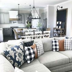 38 Inspiring Modern Living Room Decorations Ideas To Manage Your Home 38 Inspiring modern interior design ideas Design Living Room, Living Room Modern, Home Living Room, Kitchen Living, Apartment Living, Plaid Living Room, Cozy Living, Open Floor Plan Living Room And Dining, Small Living Room Layout