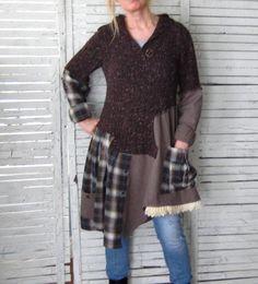 Capuche pull tunique M/L vêtements Upcycled par AnikaDesigns