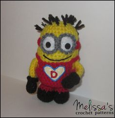 Valentine's Day Minion I made for my little brother  Free crochet pattern available on Ravelry