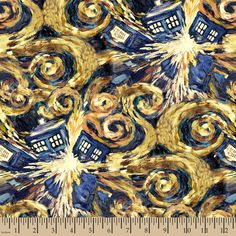 In the timey-wimey world of Doctor Who, van Gogh's last work depicts an exploding Tardis. Quilting-cotton fabric of 'The Pandorica Opens' Each Tardis is about from the 'Doctor Who' collection by BBC for Springs, via equilter. More crafty geek pins a Doctor Who Tardis, Die Tardis, Doctor Who Art, Bbc Doctor Who, Eleventh Doctor, Doctor Who Quilt, Tardis Art, Doctor Who Poster, The Doctor