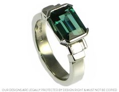 Platinum engagement ring with an emerald cut tourmaline ~ Harriet Kelsall Jewellery Design