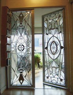 art deco glass doors -- Love that they are different. Would be so nice going into a master bath or den More furniture, Art deco furniture, vintage furniture, interior design, style