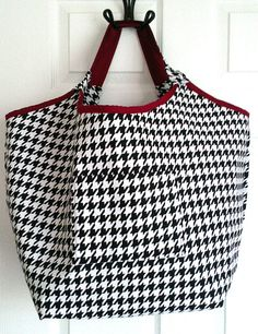 Alabama Tote Bag - Houndstooth Tote Bag - Beach Tote Bag Overnight Bag. This bag is perfect for any Alabama fan! You can never have too much room