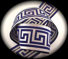 Woven Jacquard Ribbon Greek Key Trim - 1 x 1 yard Lt. Navy on Silver/Creamy Gray Greek Key, Renaissance, Weaving, Ribbon, Yard, Fabric, Silver, Blue Bedrooms, Crafts