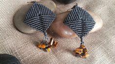 Orecchini fatti a mano in macrame con filo cerato brasiliano, schegge di occhio…