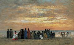 Eugène Boudin - Personnages sur la plage à Trouville (1869)