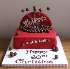 Box of Maltesers - We offer our customers the chance to purchase high quality products for low affordable prices! Such as bespoke clothing pieces, trinkets and customisable phone cases. Big Cakes, Fancy Cakes, 60th Birthday Cakes, Birthday Cake For Mum, Birthday Desserts, Birthday Bash, Malteser Cake, Dad Cake, Novelty Cakes