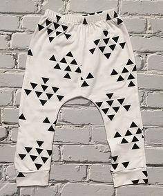 Another great find on #zulily! White & Black Triangle Harem Pants - Toddler #zulilyfinds
