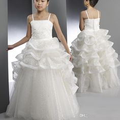 Unique Design 2015 Flower Girl Dresses for Weddings Spaghetti Straps Appliques Zipper White Ruffles Floor Length Sequins Tulle P-in Flower Girl Dresses from Weddings & Events on Aliexpress.com | Alibaba Group