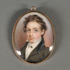 American School, Early 19th Century Portrait Miniature of a Young Gentleman.