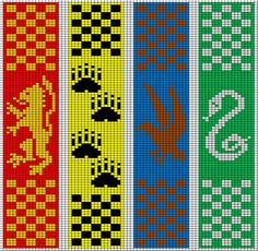 Pattern for all houses (top) left to right: Gryffindor, Hufflepuff ... Meg's got the girls into Harry Potter