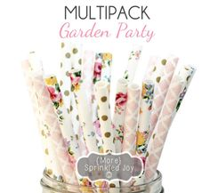 Flower, Light Pink, Gold Paper Straws, Party Decor, Cake Pops, Garden Party, Tea Party, Shower, Birthday Baby Shower, Bridal, Wedding, Baby by MoreSprinkledJoy on Etsy https://www.etsy.com/listing/231133350/flower-light-pink-gold-paper-straws