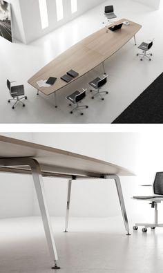 Rectangular wooden meeting table XF MEETING by FAMO | #design Daniel Korb