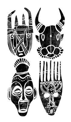 African Masks // T-Shirt Print - Pedro Kuperman